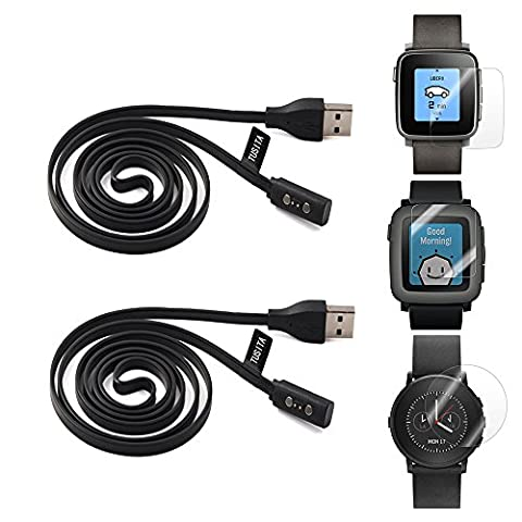 2-PACK Pebble Time Charging Cable With Screen Protector(3.3ft), TUSITA Replacement
