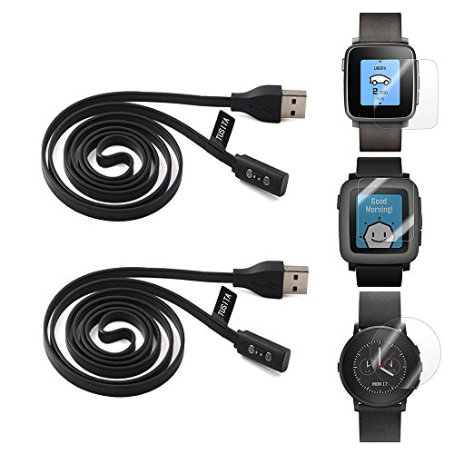 2-pack-pebble-time-charging-cable-with-screen-protector33ft-tusitar-replacement-usb-charge-charger-w