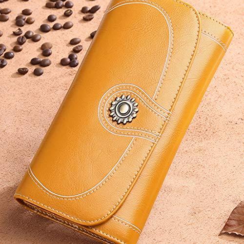 Yajiemei Frauen RFID Sperrung Große Kapazität Wachs PU Leder Lange Clutch Wallet Card Holder Organizer (Color : Antique Yellow)