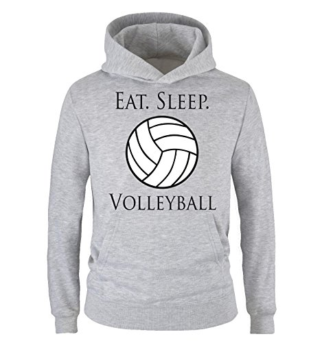 Comedy Shirts - EAT. Sleep. Volleyball - Kinder Hoodie - Grau/Schwarz-Weiss Gr. 152/164