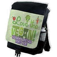 Personalised I Love Vegan St251 Black Backpack School Rucksack Overnight Travel Gym P.E Laptop Bag ** Add a Name** Gift
