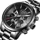 8b0aa4be8db6 Relojes Hombre Acero Inoxidable Impermeable Deportes analógico de Cuarzo  Hombres Reloj LIGE Negocios de Lujo Cronógrafo Calendario Negro Relojes  Hombre