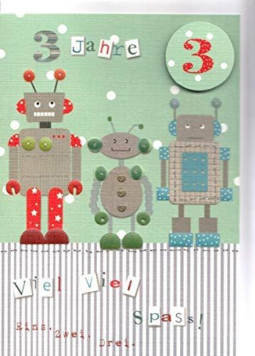 Geburtstagskarte 3. Geburtstag Lustige Roboter