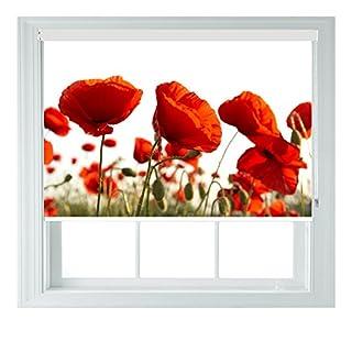 Rot Mohnblumen verschiedene Größen Black Out Rollo für Schlafzimmer Badezimmer Küche und Wohnwagen AOA®, Textil, poppy 5ft