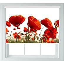 Rojo POPPYS varios tamaños negro enrollables de Out para dormitorios baños cocinas y caravanas AOA®, poppy 4ft