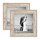 Photolini Juego de 2 marcos 20x20 cm blancos, añejo chic de época, madera maciza con cristal y accesorios/marco de fotos/marco nostálgico