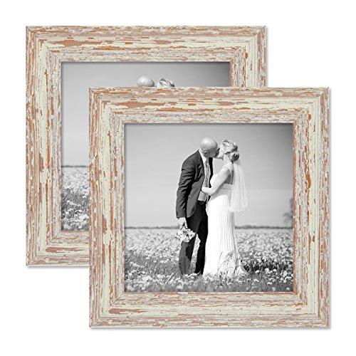 Photolini set da 2 cornici per foto 20x20 cm bianco shabby for Cornici nere per foto