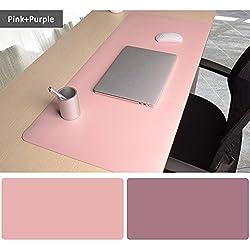 Tapis de Souris Bureau, 900 x 400x2mm Ultra mince Anti-dérapant et étanche PU cuir tapis de bureau Super-Portable tapis de bureau avec double côté pour les jeux et Sous-main bureau-Rosa + Violet