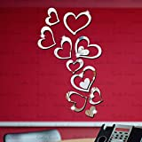 #9: 3D DeCor Acrylic Mirror wall stickers - Love Heart 16 silver - 3D Acrylic Sticker 3D Mirror 3D Acrylic Wall sticker 3D Acrylic stickers for wall 3D Acrylic Mirror stickers 3D Acrylic mural for Drawing room living room bedroom kids room home & offices