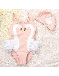 zooarts verano Kid bebé niñas Rosa Cisne de baño una pieza Cap diadema traje de baño Swimsuit, Rosa, 110 (4-5Years)