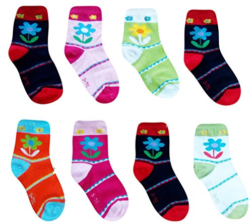 ESELPRO BABY BOYS GIRLS COTTON ANKLE LENGTH SOCKS 2-4 YEARS (Set of 8 pairs) ASSORTED DESIGNS