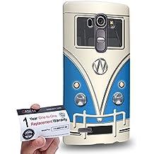 Case88 [LG G4] 3D impresa Carcasa/Funda dura para & Tarjeta de garantía - Art Fashion Blue Retro Bus Mini Van 1200