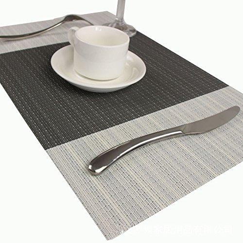 Haosen 45x30cm Tovagliette (Set di 4) Tovaglietta Textilene PVC Colore blocco Plain Jane Tovagliette - Ambientale non tossico / anti-olio (Grigio)