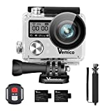Action Cam, Vemico Action Kamera 4K WIFI Sports Cam Wasserdicht Camera Unterwasserkamera Helmkamera 16MP Ultra Full HD mit 2.4G Fernbedienung und 1050mAh Wederaufladbare Batterien und Selfie Stick