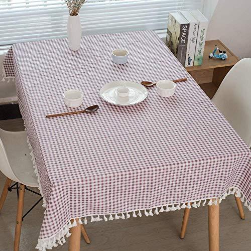 Homk101 Rechteckige Tischdecken Schlicht Gestreifte Baumwollhanf Desktop Dekorativ Wasserdicht Küche Restaurant Cafe Party Tisch 90 * 90CM F