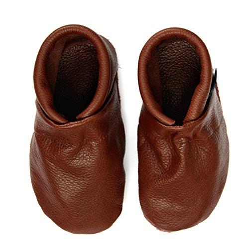 pantau.eu Kinder Lederpuschen Krabbelschuhe Babyschuhe Lauflernschuhe Unifarben Braun