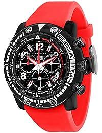 Glam Rock Miami Beach del Hombre 50mm rojo banda de silicona funda de policarbonato cuarzo negro dial reloj gr20139