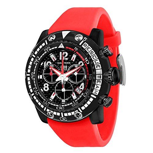 Glam Rock Men's Miami Beach 50mm Red Silicone Band Polycarbonate Case Quartz Black Dial Watch GR20139