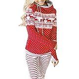 TianWlio Weihnachten Pullover Langarmshirt Bluse Hoodie Frauen Herbst Winter Weihnachten Reißverschluss Kapuzenpullover Pullover Bluse T-Shirt Punkte Drucken Tops (S, rot)