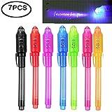 LanLan Cadeau de Noël Tours de Magie 7 Pcs UV Light Pen Set Stylo à Encre Invisible Kids Spy Toy Pen avec des Cadeaux de lumière UV intégrée et marquage de sécurité pour Christmas