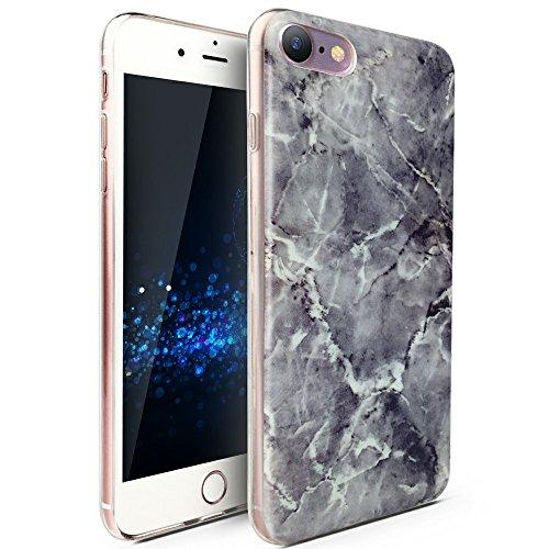 CLM-Tech Apple iPhone 7/8 Hülle, TPU Gummi Case Silikonhülle Schutzhülle, Marmor lila Mehrfarbig