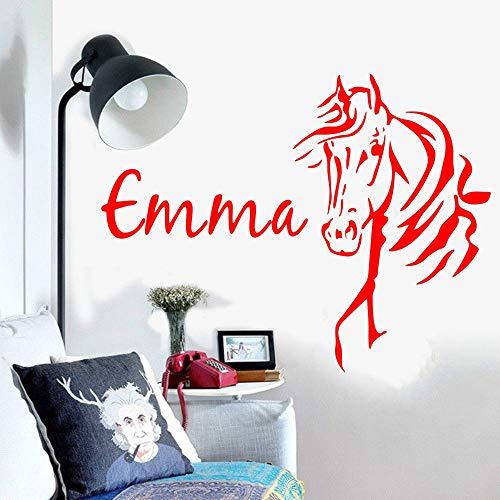 Ajcwhml Wandtattoo Benutzerdefinierte Name Pferdekopf Name Kinderzimmer Schlafzimmer Tier Kind Junge Mädchen Innenarchitektur Aufkleber Pack 43X57 cm -