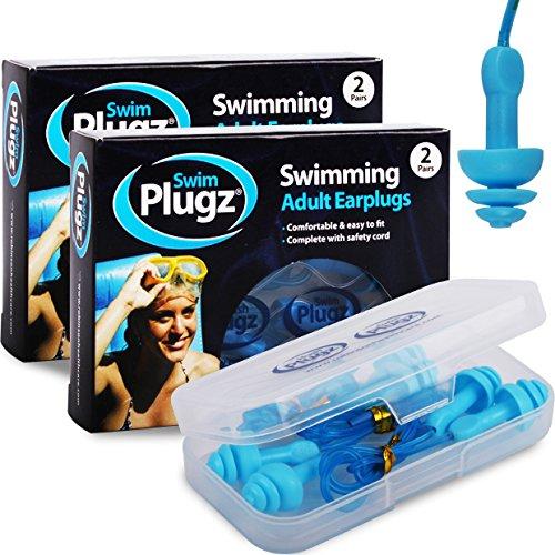 Hush Plugz Schwimm-Ohrstöpsel für Erwachsene, mit Sicherheitskordel, Silikon, mit antibakteriellem Stift, 4 Paar