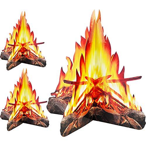 12 Pouces de Hauteur Feu Artificiel Papier de Flamme Fausse 3D Torche de Flamme au Centre de Feu de Camp en Carton Décoratif pour Décorations de Fête de Feu de Camp (3 Jeux Style B)