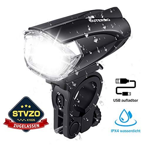 OUTERDO Fahrradlicht LED, StVZO Zugelassen Fahrrad Frontlicht LED,Fahrradlampe USB Wiederaufladbar,Fahrrad Frontlicht Wasserdicht,Fahrradleuchte 1200mAh Akku MTB Rennrad Schwarz