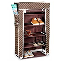 Urban Living Homelike 5 Layer Multipurpose Brown Shoe Rack (60Cm X 30Cm X 110Cm, Brown Check)