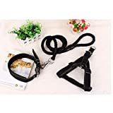 KoKoBin Verstellbar Hundeleine hundegeschirr mit Halsband Nylon geflochtenen Leine 3-er Pack(schwarz)