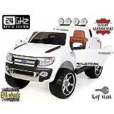 FORD RANGER Wildtrak de lujo, Blanco, producto BAJO LICENCIA, con mando a distancia 2.4Ghz Bluetooth, apertura de puertas y capó, os asientos en cuero, Ruedas EVA Suave
