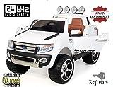 RIRICAR Ford Ranger Wildtrak de Luxe Voiture-Jouet électrique pour Enfant, 2.4Ghz Bluetooth contrôle á Distance, Deux Moteurs, Deux sièges en Cuir, Roues EVA Douces, Blanc, Licence Ford Originale