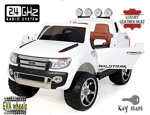 Ford Ranger Wildtrak -di lusso, Macchina Elettrica per Bambini, Toy Car, 2 motori, a due posti in pelle, Ruote EVA morbide, bianco, 2,4 GHz Bluetooth, USB, SD card, licenza originale Ford
