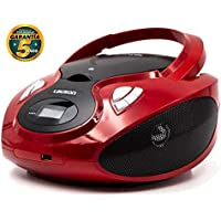 Lauson Radio y Reproductor de CD Portátil con USB | Radio Am/FM | USB y Mp3 | CD Player con Salida para Auriculares 3.5mm | CP629 (Rojo)