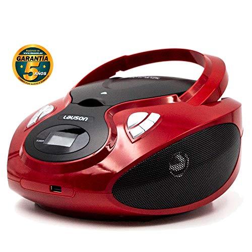 Lauson Radio y Reproductor de CD Portátil con USB | Radio Am/FM | USB y Mp3 | CD Player con Salida para Auriculares 3.5mm | CP629 (Rojo)