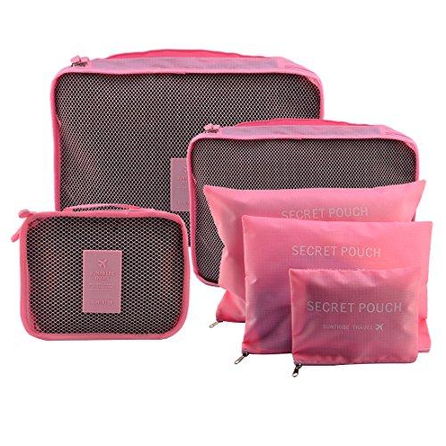 Likeluk 6 Stück Kleidertaschen Reisetasche in Koffer Wäschebeutel Schuhbeutel Kosmetik Aufbewahrungstasche Rosa