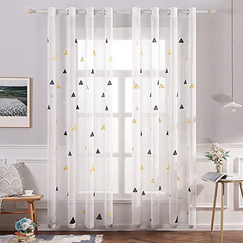 Miulee voile tenda per finestra con occhielli tende trasparenti stampati per soggiorno e camera da letto 2 pannelli 140 x 260 cm triangoli giallo