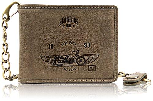 Klondike 1896 Geldbörse aus echtem Leder mit Kette 'Harry Bike', Hochwertiges Echtleder Portemonnaie für Damen und Herren, Limited Edition, Stone - Leder-motorrad-kette Geldbörse