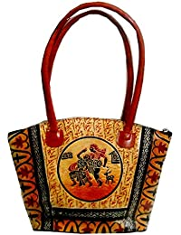 Dancing On Rhythm Of Dhol : Ethnic Hand Embossed 100% Pure Shantiniketan Leather Indian Hand Bag