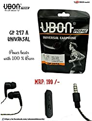 Ubon Universal Earphone GP-297 with High Bass Crystal clear sound treble Quality For Micromax Sony Samsung Apple HTC OPPO Karbonn Xiaomi Lenovo Coolpad Laptop Mobile Tablet Computer with Mic (BLACK)