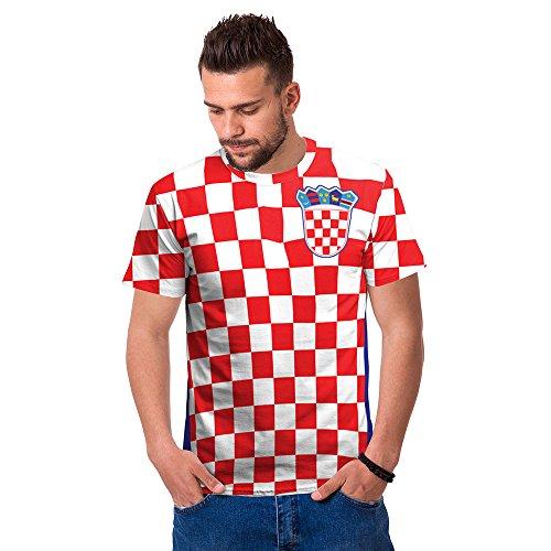 Ziwater WM 2018 Shirt Deutschland Fußball Trikot Weltmeisterschaft Germany World Cup Fanfest Fan-Shirt Herren 3D (Croatia-rot-L)