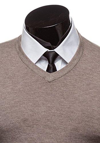 BOLF Herren Pullover Sweater Sweatshirt Strickpullover Pulli Slim Mix 5E5 Motiv Khaki_6007