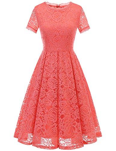 Dresstells Damen Sommerkleid Rundhals lang Kurzarm Festliches Elegant Cocktail Ballkleid Coral XL