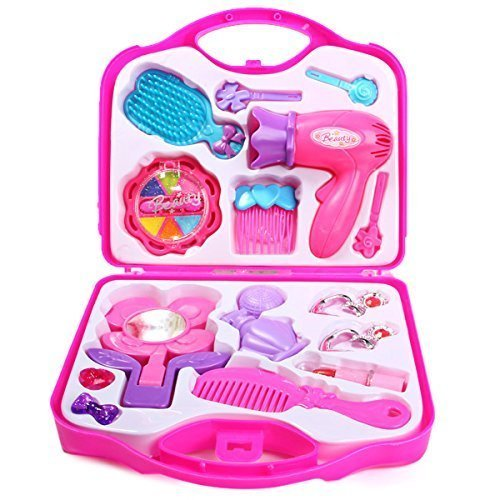 FunBlast™ Beauty Set with Hair Dryer and All Accessories Toys for Kids, Little Girls Make Up Case And Cosmetic Set ,Pretend Play Kids