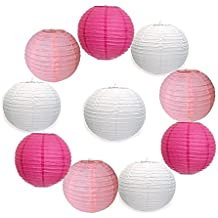 SUNBEAUTY Confezione da 10 pezzi 30cm lanterna di carta decorazione colori assortiti per la festa nuziale all'aperto (rosa rossa + bianco + rosa)