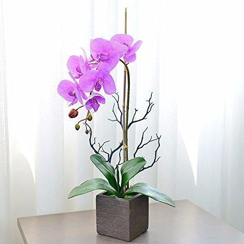 FLOWER Orchideen Und Blume Fake Blumen Bundle Seide Blumen Dekoration Geschenke Pink (Seide Blume Halskette)
