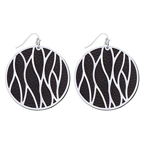 Front Row Damen-Ohrringe kreisförmig schwarzes Kunstleder