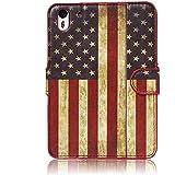 tinxi® Kunstleder Tasche für HTC Desire Eye Tasche Schutz Hülle Schale Etui Case Cover Standfunktion mit Karten Slot USA Flagge