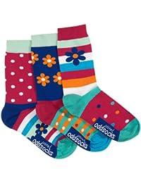 Dasiy Oddsocks - Set mit 3 verschiedenen farbigen ungerade Socken - Mädchen - gänseblümchen